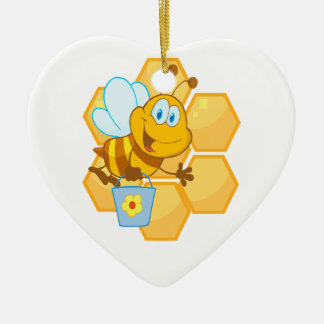 cute happy honey bee and honeycomb christmas ornament
