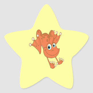 cute happy hopping orange frog star sticker