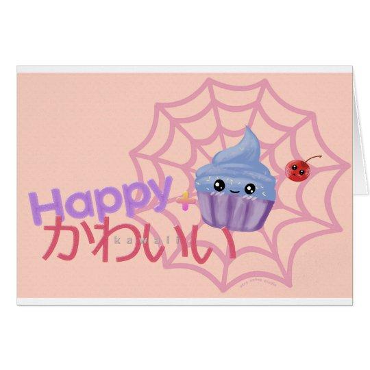 Cute Happy + Kawaii Cupcake Card