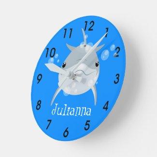 Cute happy kawaii dolphin cartoon illustration round clock
