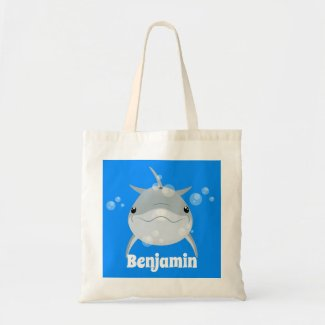Cute happy kawaii dolphin cartoon illustration tote bag
