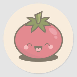 Cute Happy Kawaii Tomato Classic Round Sticker