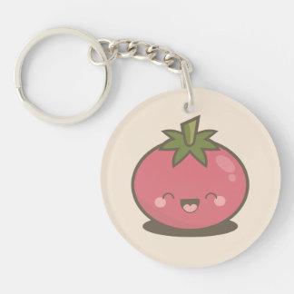 Cute Happy Kawaii Tomato Double-Sided Round Acrylic Keychain