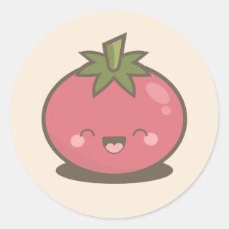 Cute Happy Kawaii Tomato Round Sticker