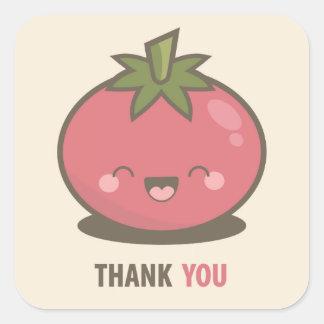 Cute Happy Kawaii Tomato Thank You Stickers