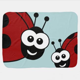 Cute Happy Ladybugs Receiving Blanket