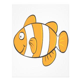 cute happy little clown fish cartoon character flyer design