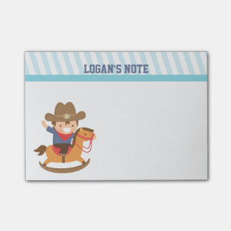 Cute Happy Little Cowboy on Rocking Horse Post-it Notes