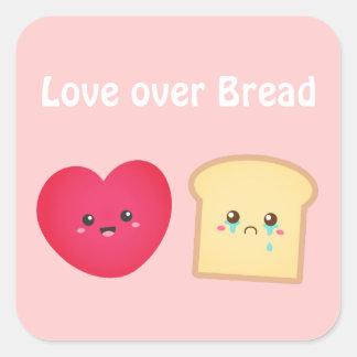 Cute Happy Love over Sad Bread Square Sticker