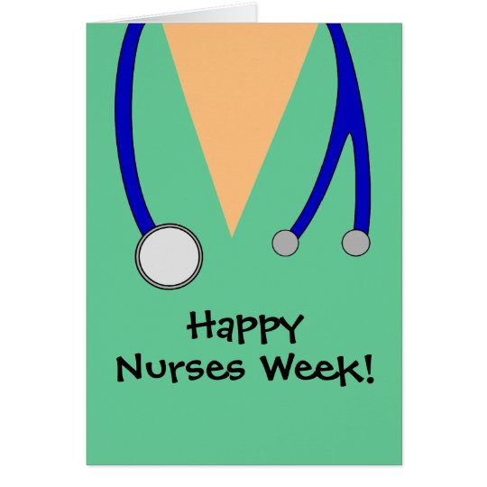 Nurses week zazzle cute happy nurses week scrubs thank you card m4hsunfo