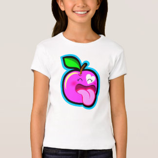 Cute happy pink apple cartoon comic in white shirt