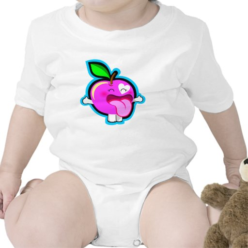 Cute happy pink apple for baby t shirt