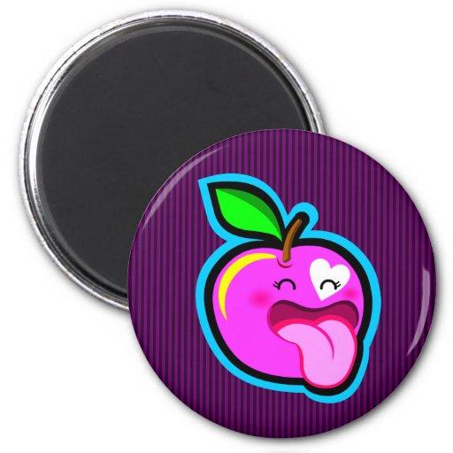 Cute happy pink apple magnet