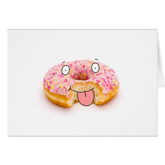 Cute happy pink doughnut character card