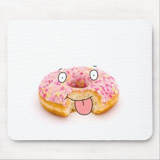 Cute happy pink doughnut character mousepad