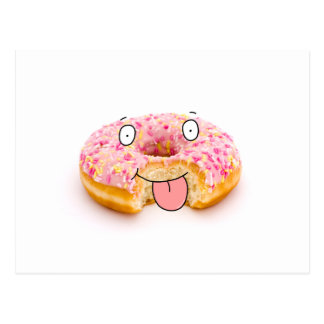 Cute happy pink doughnut character postcard