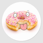 Cute happy pink doughnut character sticker
