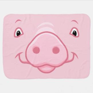 Cute Happy Pink Pig Face Baby Blanket