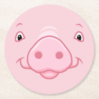 Cute Happy Pink Pig Face Round Paper Coaster