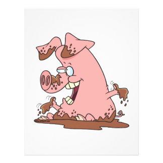 cute happy pink pig in mud cartoon 21.5 cm x 28 cm flyer