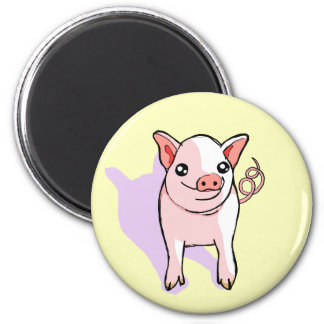 Cute Happy Pink Piglet Drawing Fridge Magnet