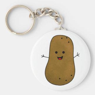 Cute Happy Potato Basic Round Button Key Ring