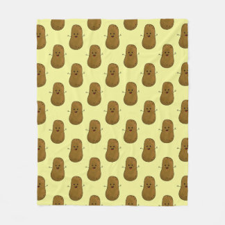 Cute Happy Potato Fleece Blanket