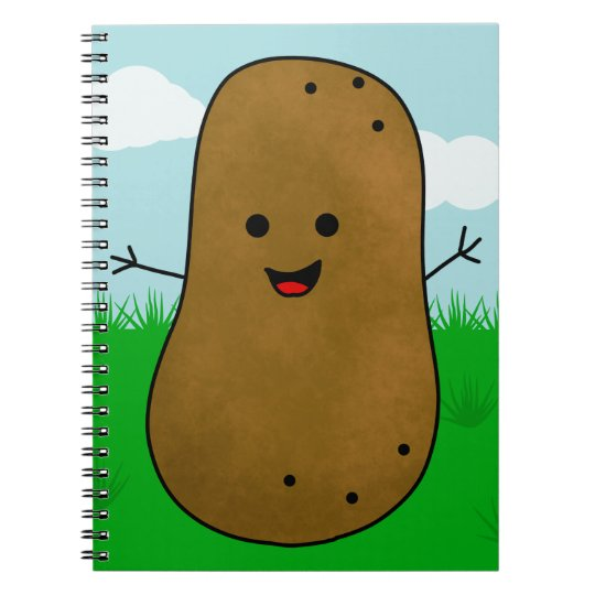Cute Happy Potato in the Garden Notebook