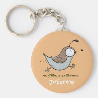 Cute happy quail cartoon illustration key ring