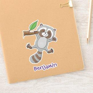 Cute happy racoon baby cartoon illustration
