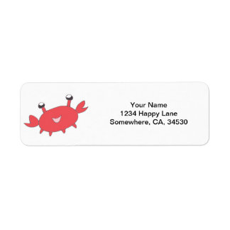 Cute Happy Red Crab Return Address Label
