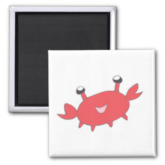 Cute Happy Red Crab Square Magnet