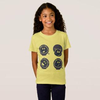 Cute happy Rhino on yellow t-shirt