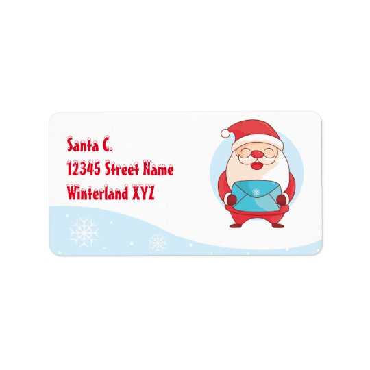 Cute happy Santa Claus Papa Noel holding letter Label