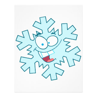 cute happy silly cartoon snowflake character flyer