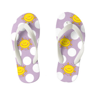 Cute Happy Smiley Sunshine And Polka Dot Pattern Flip Flops
