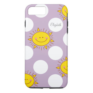 Cute Happy Smiley Sunshine And Polka Dot Pattern iPhone 7 Plus Case