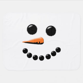 Cute Happy Snowman Face White Christmas Holiday Receiving Blanket