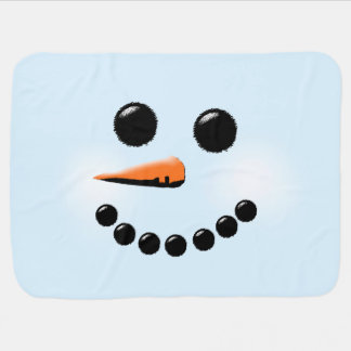 Cute Happy Snowman Face Winter Holiday Christmas Baby Blankets