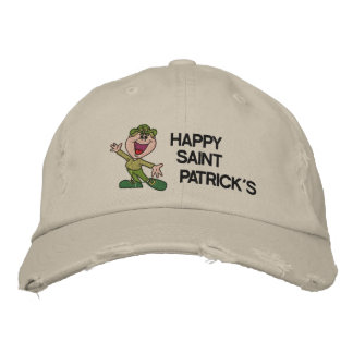 Cute Happy St Patrick s Day Embroidered Hat Embroidered Baseball Cap