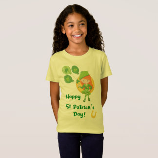 Cute Happy St Patrick's Day Girl T-Shirt