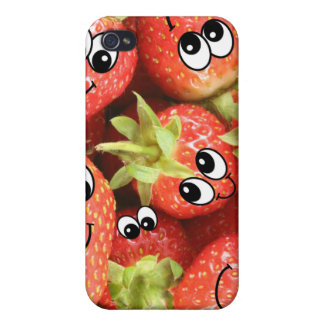 Cute Happy Strawberries Cover For iPhone 4