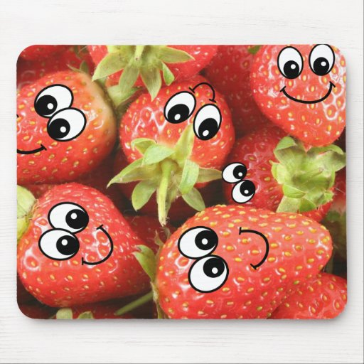 Cute Happy Strawberries Mouse Pad
