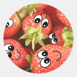 Cute Happy Strawberries Round Sticker