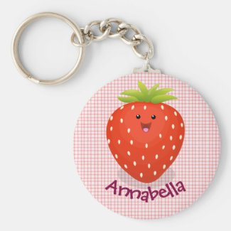 Cute happy strawberry cartoon illustration key ring
