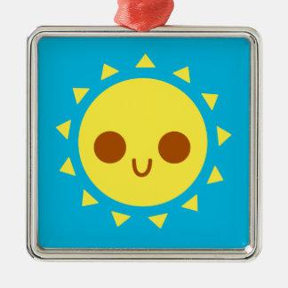 Cute Happy Sun in Blue Sky Ornament