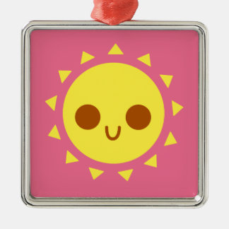 Cute Happy Sun in Pink Sky Christmas Ornament