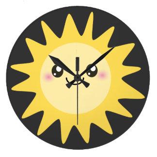 Cute Happy Sun Large Clock
