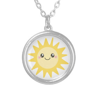 Cute Happy Sun Silver Plated Necklace
