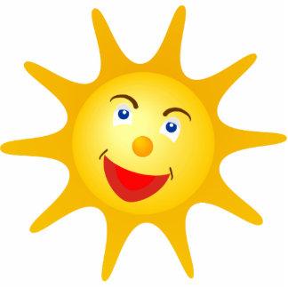 Cute happy sun standing photo sculpture
